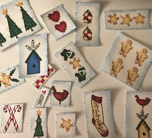 Lot-of-Christmas-Stamp-like-Appliques-15-Holiday-Iron-On-fabric-appliques