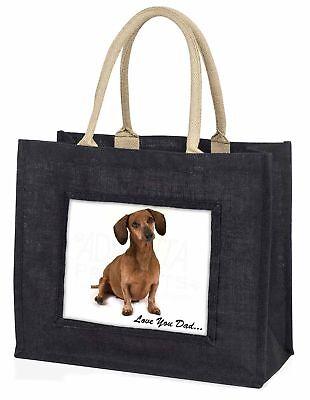 Dackel Hund' liebe Dich Papa' große schwarze Einkaufstasche WEIHNACHTEN Prese ,