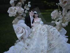 vintage wedding cake topper bride groom 1949 pink cream millinery flowers