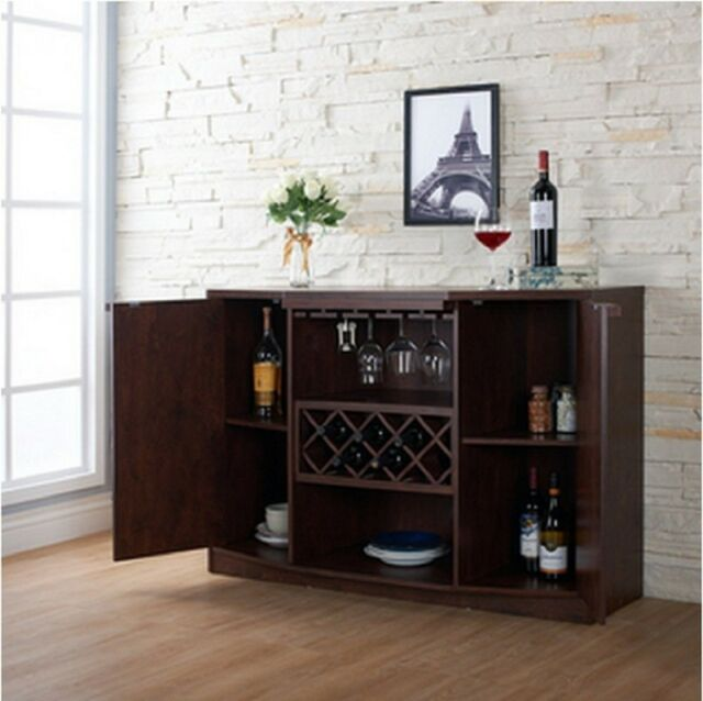 A Liquor Cabinet Bar And Wine Set For Home Buffet Server With Stemware Storage