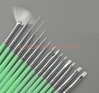 15 PCS Acrylic Nail Art Pens Fan Brush Painting Drawing Dotting Liner Set Green