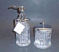 Hotel Balfour 2 Pc Clear 3d Glass Crystal Vertical Cut Soap Dispenser+jar