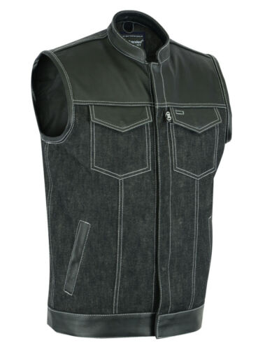 Men's Motorcycle Biker Leather Denim Combo Vest Without Collar 2 Concealed Carry