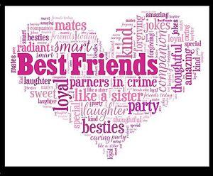 Best Friend Christmas Gift Heart Word Art Print Birthday Thank You