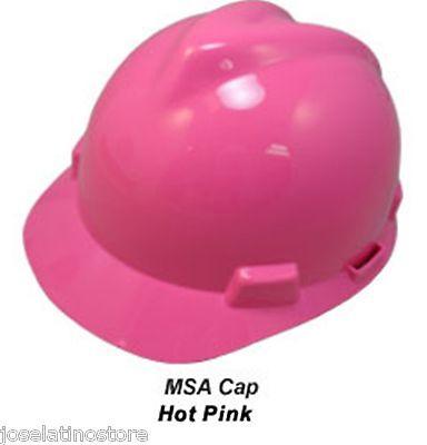 """MSA  New Color """"HOT PINK"""" V-Gard Cap Style Safety Hard Hat Ratchet Suspension"""