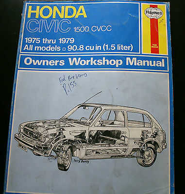HONDA CIVIC 1975 - 79 1500cc ALL MODELS,90.8ci 1.5 HAYNES OWNERS WORKSHOP MANUAL