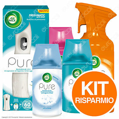 6 Air Wick Pure Spray + Air Wick Freshmatic + 3 Ricariche Air Wick Autospray