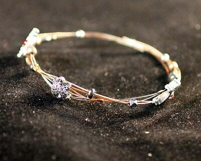 Wire Cable Crystals Whisper Bangle Bracelet Tri Color Ebay