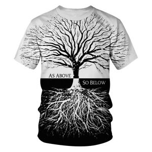 T-Shirt-Men-Women-Black-White-Tree-3D-Print-Tee-Short-Sleeve-Hipster-Casual-Tops