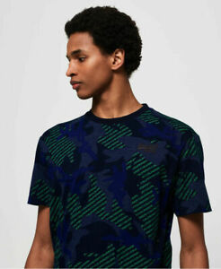 New-Mens-Superdry-Mens-Orange-Label-Urban-Printed-Box-T-Shirt-Blue