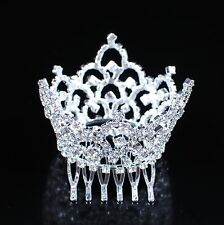 Mini Tiara Hair Crown Clear Rhinestone Hair Combs for Kids Pageant Prom Party US