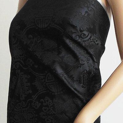 Chinese brocade fabric black on black satin twin fish longevity by yard-cbs-513