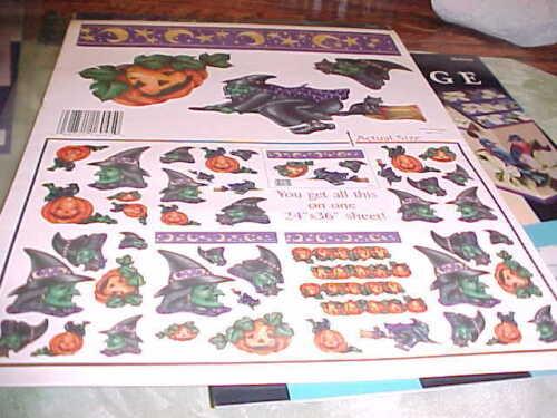 HALLOWEEN DECOUPAGE Witche Jack o Lantern Dozen of Multi Size Pieces Easy To Use