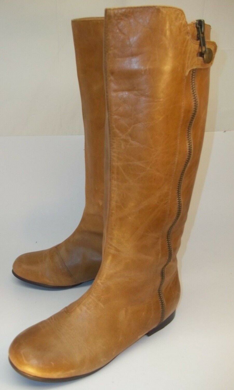 Dolce Vita Womens Tall Boots US 6 Brown Leather pull on Lined decorative zipper