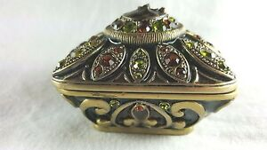 Enamel Jeweled Pewter Trinket Box