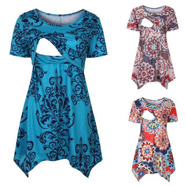 Women Maternity Pregnant Nusring Short Sleeve Tops Summer Print Tee Shirt Blouse