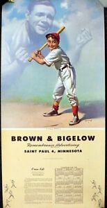 UNUSED1950 CALENDAR WITH BROWN & BIGELOW ADVERTISING WITH GREAT BASEBALL PICTURE