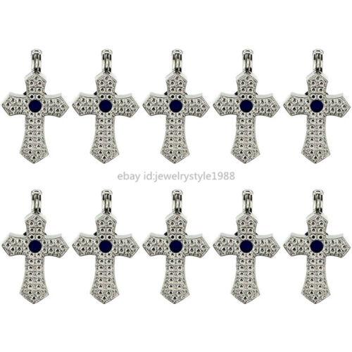 10X-K635 Tone croix pearl rock Cage Aromathérapie Diffuseur Médaillon