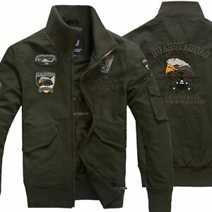 Mens Military USA Army Flight Slim Zipper Jackets Air Force jacket ... 21c46983175