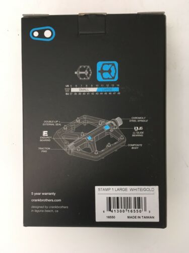 SPECIAL EDITION CrankBrothers Stamp 1 MountainBike Pedals Large White//Gold
