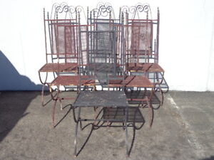 Antique-Chairs-Set-of-Iron-Patio-Outdoor-Dining-Rustic-Primitive-Reclaimed-Metal
