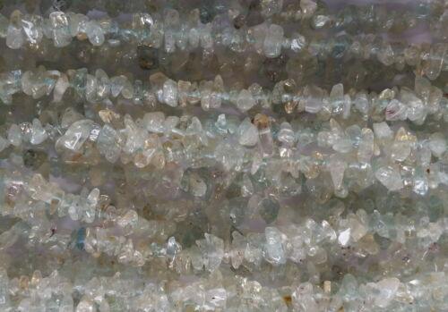025 Aquamarine gemstone fine chip bead necklace natural gem 90cm//36inch
