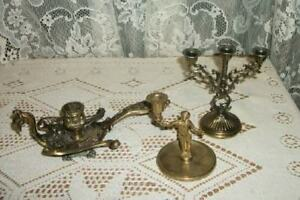ITALIAN-FLORENTINE-3-FIGURAL-METAL-CANDLE-HOLDERS-CHIC-SHABBY-VINTAGE-ITALY
