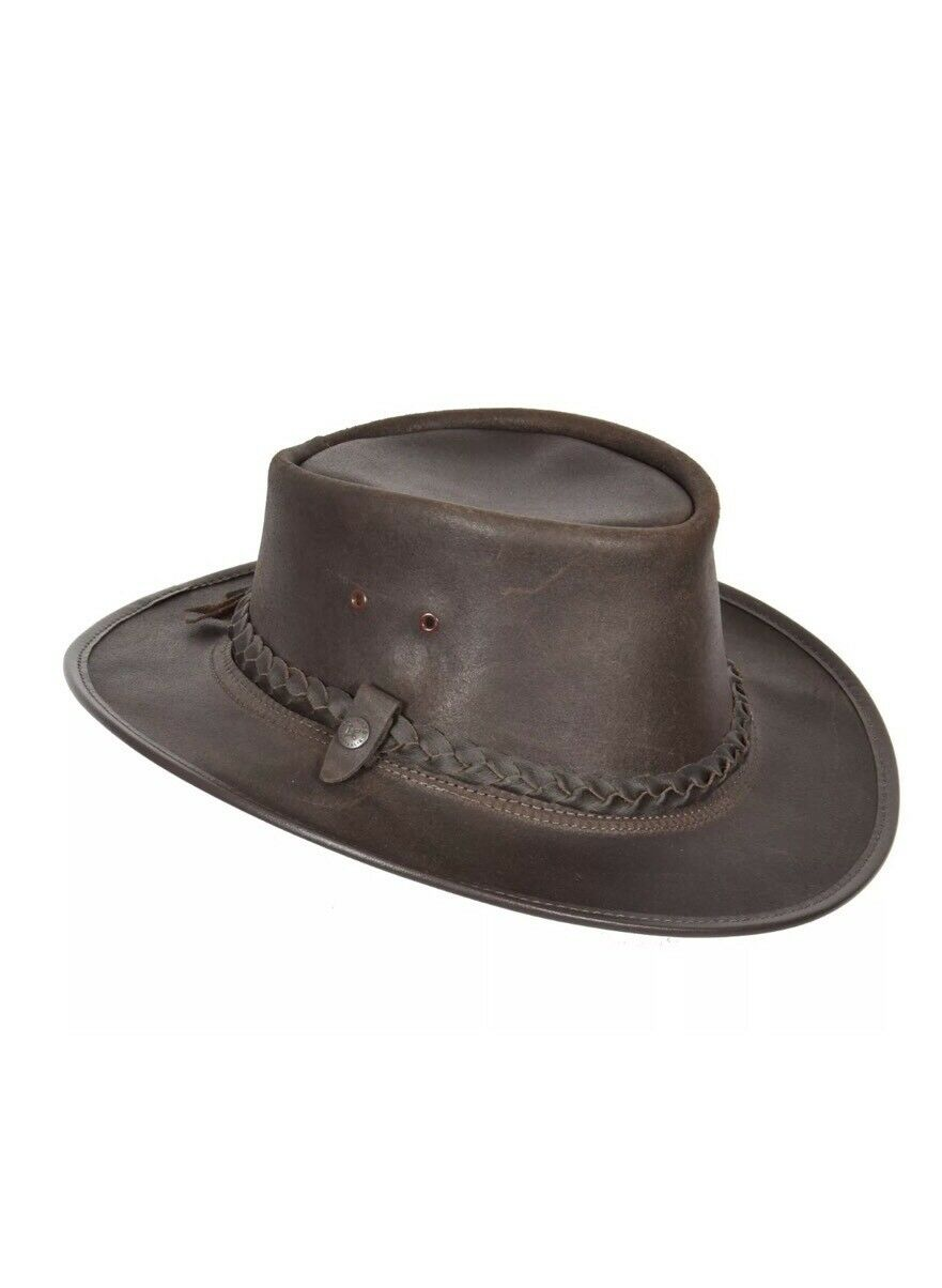 MEDIUM CONNER HANDMADE BC HATS BAC PAC TRAVELLER OILY AUSTRALIAN LEATHER BROWN
