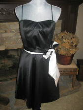 THE LIMITED BLACK WHITE SATIN STRETCH TUXEDO BELTED WEDDING COCKTAIL DRESS 8 NWT
