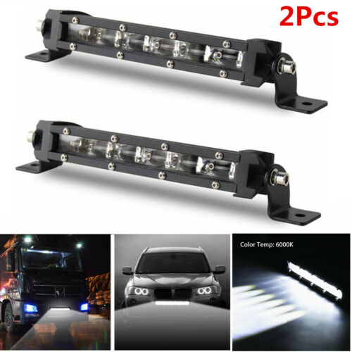 Pair 8/'/' 60W Aluminum Spot Beam Slim Single Row CREE LED Work Light Bar Off-Road