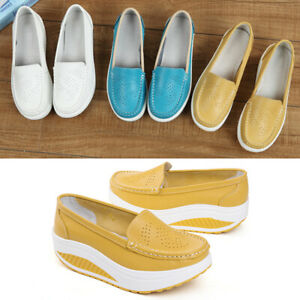 Fashion-Women-Lady-Slip-On-Nurse-Swing-Work-Single-Shoes-Platform-Wedges