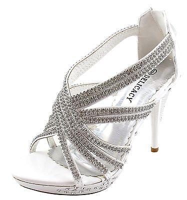 New women's shoes rhinestones stilettos back zipper party prom wedding white