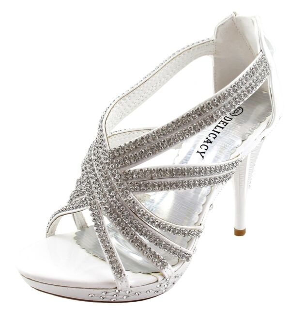 New women's shoes rhinestones stilettos back zipper party prom wedding white