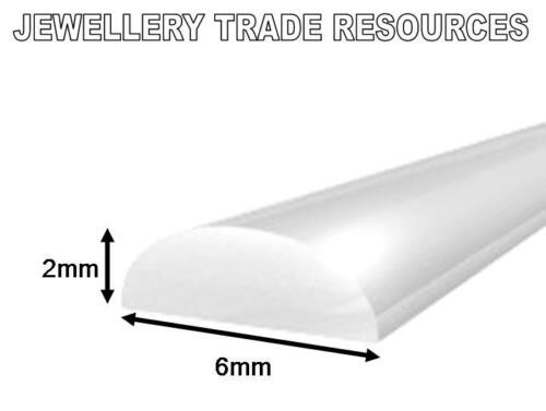 6mm x 2mm D SHAPE SECTION STERLING SILVER WIRE JEWELLERY MAKING in 100mm units