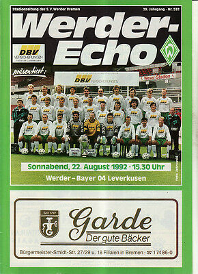 Bl 92/93 Sv Werder Bremen - Bayer 04 Leverkusen, 22.08.1992 100% Garantie