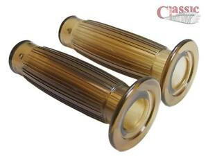 Retro style gel brown 1/'/' motorcycle twist grips