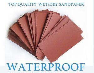 "WATERPROOF COARSE SANDPAPER 60 pc 3/"" X 5.5/"" COMBO 180//220//320// 400//600//800 Grit"
