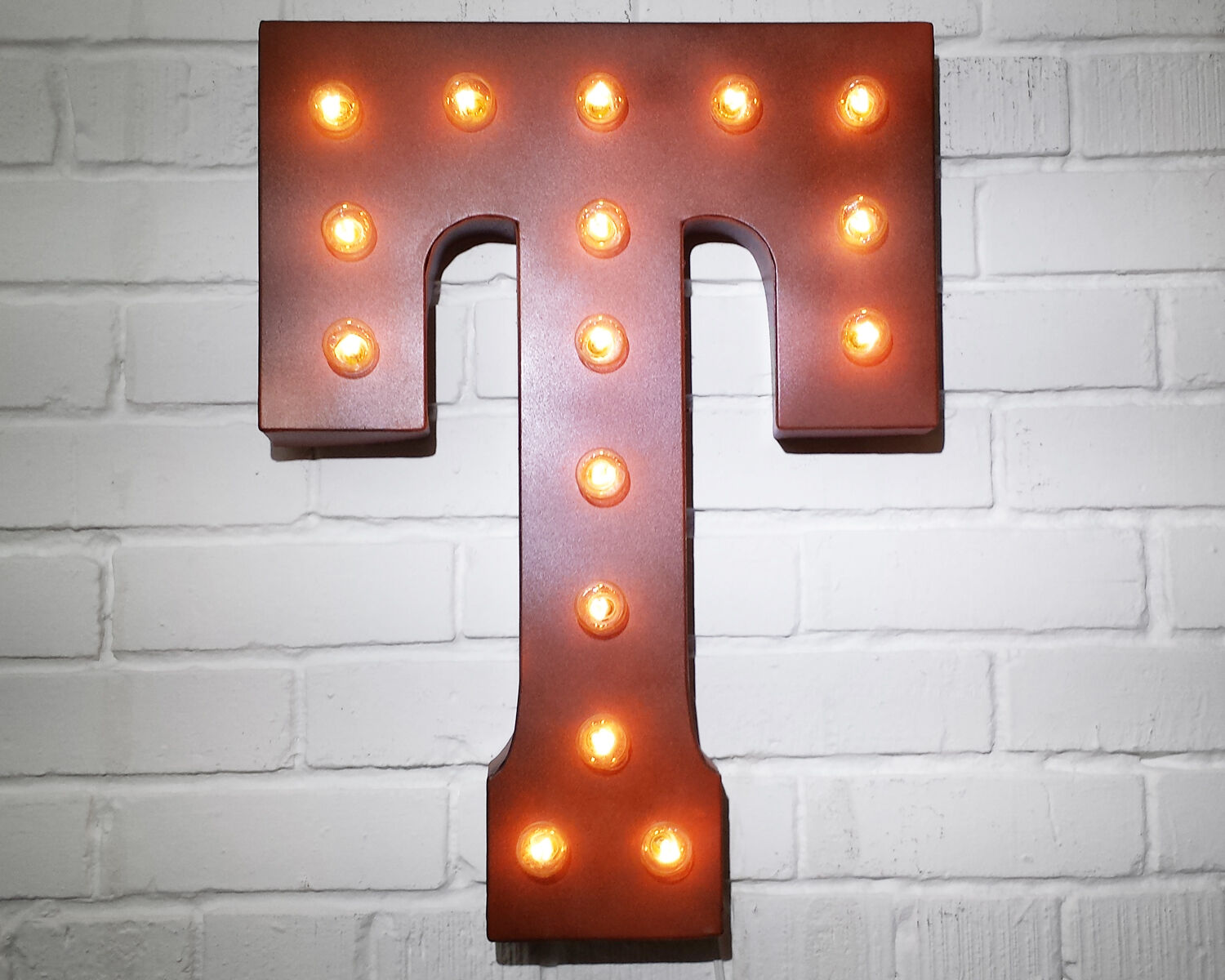 21  Letter T PLUG-IN or BATTERY LED Rustic Vintage Metal Marquee Light Up Sign