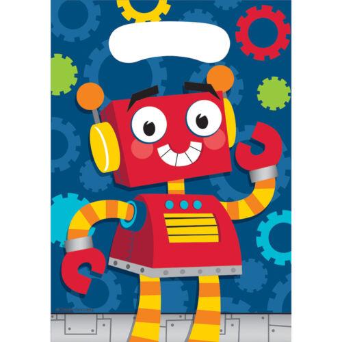 "** 8 X PARTY ROBOTS LOOT BAGS 9/"" X 6.5/"" BOYS BIRTHDAY CHILDRENS BLUE TREAT GOODY"