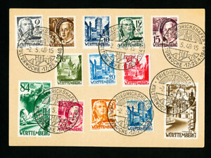 Germany-Stamps-Wurttemberg-Complete-Set-on-Card