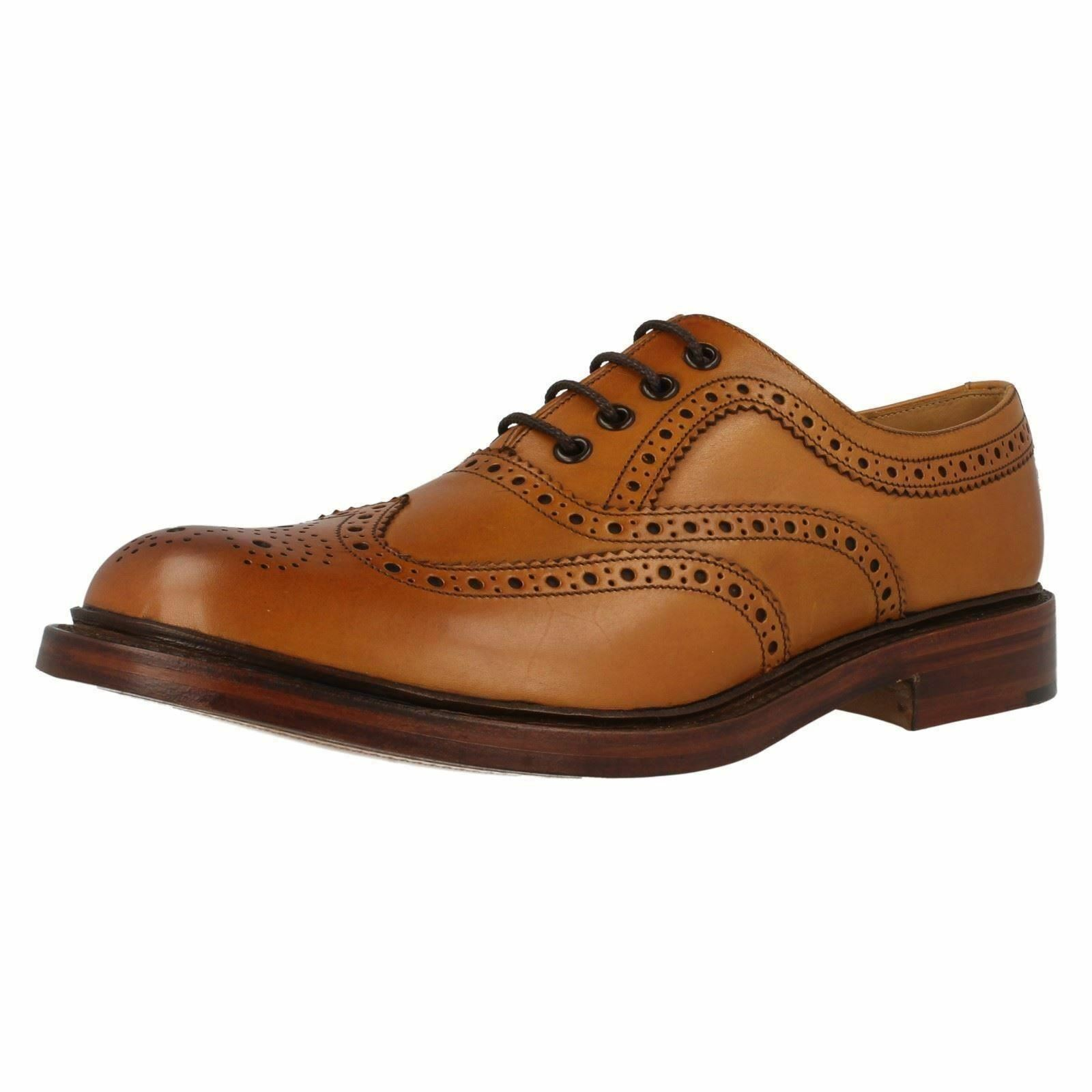 Loake 1880 Ashby Tan Burnished Leather Heavy Country Brogue Lace Up schuhe
