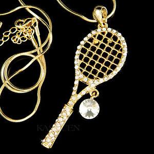 exilio Estricto oportunidad  Grande Raqueta de Tenis Con Cristal Swarovski Bola Raqueta Joyería Collar  de Oro | eBay