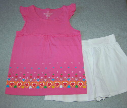 Girls 2 PC Outfit PINK SMOCK SHIRT Flowers WHITE SHORTS Skirt Look 4 5 6 7 8