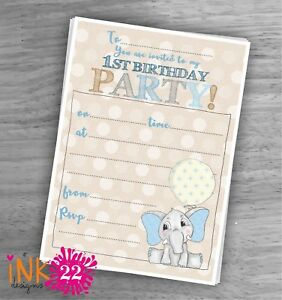 Image Is Loading Cute Kids Baby Boys Invitations Pack 039 Elephant