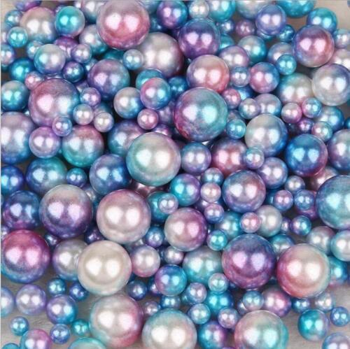 500X Mischgröße ABS Runde Nachahmung Perlen Kein Loch Kleidung Schmuck Zubehör