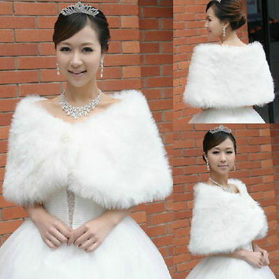 Women Ivory Plush Faux Fur Bridal Wedding Jacket Wrap Shrug Bolero Shawl Cape
