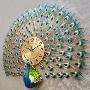 Wall-Clock-Metal-Watch-Home-Modern-Decoration-Peacock-Patterned-Clocks-Accessory