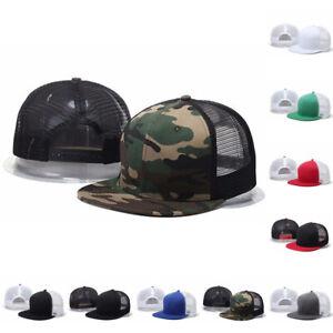 3d299dcd965c09 US Womens Mens Mesh Snapback Hat Trucker Cap Blank Flat Brim Hats ...