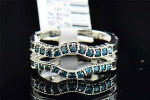 Blue-Diamond-Solitaire-Engagement-Ring-Enhancer-Wrap-Round-Cut-14K-White-Gold