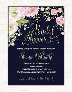 40379d5c189 Image is loading Floral-BRIDAL-SHOWER-Invitation-Pink-Gold-Flowers-Invite-